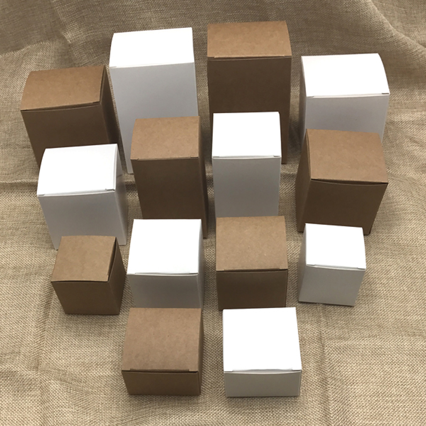 50pcs/lot 9sizes Brown/White Kraft Paper Gift Box 6/8x8x12cm for Cosmetic Bottle Jar, valves tubes Craft Candle Packing Boxes