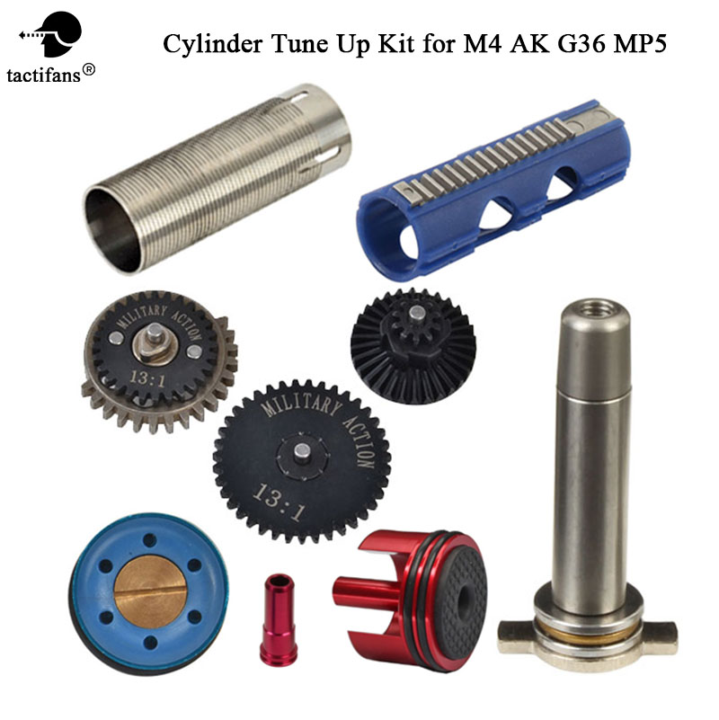 13:1 High Speed Gear 15 Teeth Piston Cylinder Piston Head Spring Guide Nozzle Tune-Up Set For M4 AK G36 MP5 Ver.2/3 Airsoft AEG цена