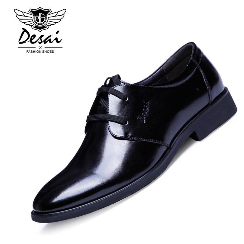 5573bf7dfc DESAI Marca Homens de Negócios Oxford Sapatos de Couro Genuíno Preto  Clássico de Cor Marrom de Alta Qualidade Escritório Homens Sapatos Tamanho  38 43 em ...