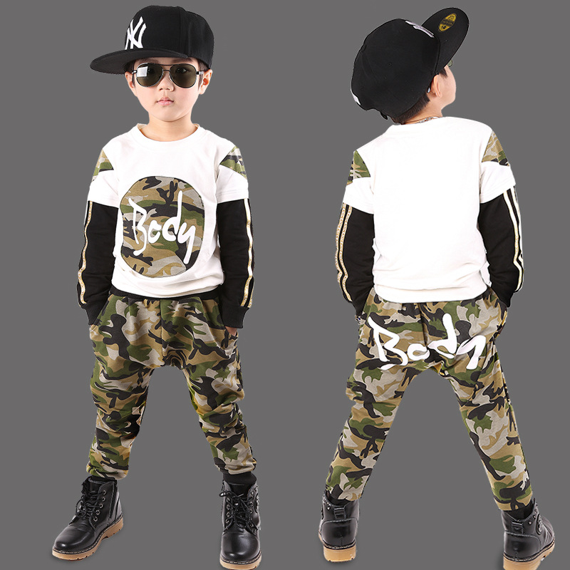 2017 children's clothing new autumn boy sports suit long-sleeved spring children camouflage children's clothing sets 5 6 7 8 9 Y