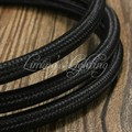 8 M 2*0.75 Cable de Alambre Tejido Textil Edison Araña Lámpara Colgante Trenzado de Cables de La Lámpara Cable Eléctrico Paño de La Vendimia cable NEGRO