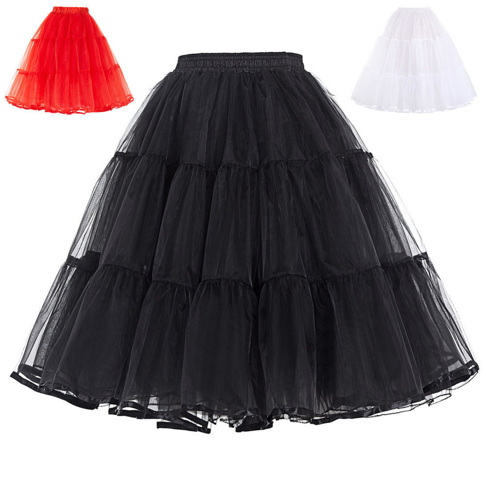 Summer Petticoats Puffy Tulle Skirt Retro Vintage Dress Underskirts Women Hoops Plus Size Dance Crinoline Petticoat White