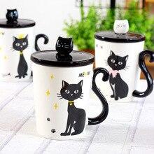 New 360ml Lovely Cat Tail Handle Mugs Cup Ceramic Coffee Tea Milk Drinkware With Spoon Cover Three in One Mug Gift цены онлайн