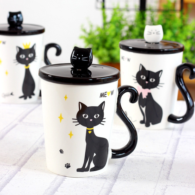 New Lovely Cat Tail Handle Mugs Cup Ceramic Coffee Tea Milk Drinkware With  Spoon Cover Three Good Looking