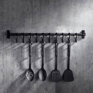 Hook-Rack Utensil-Tool Kitchenware Pantry-Bar Space American-Style Black Aluminum-Frame