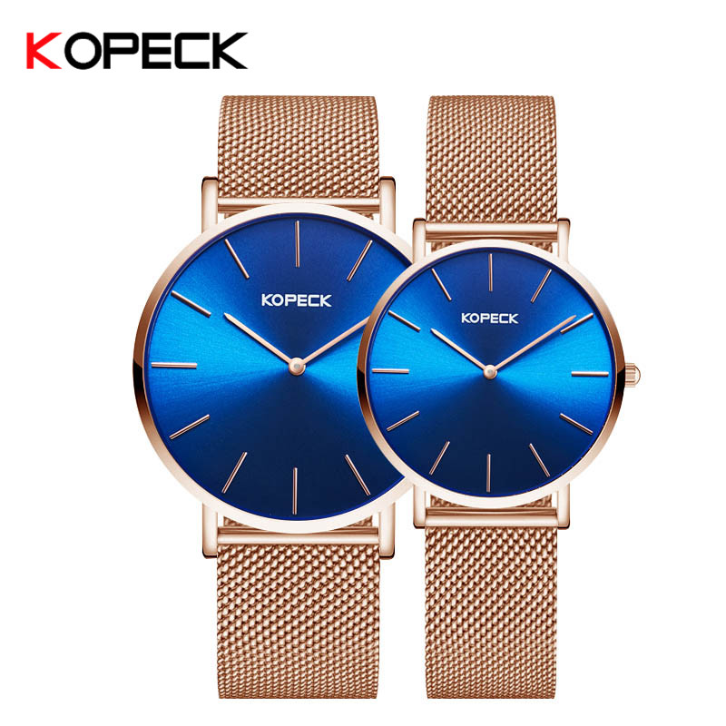 Kopeck Casual Quartz Watch Milan Mesh Strap Lovers Watch Men Luxury Women Watch Waterproof Quartz Wristwatch Parejas Relojes