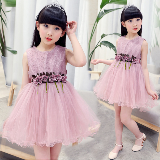 Flower Girl Dresses for Kids 2017 New Summer Lace Casual Cute Pink ...