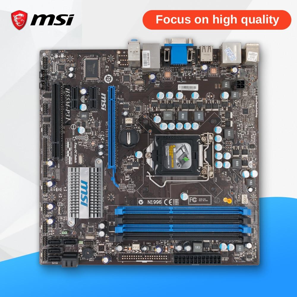 MSI H55M-P31 Original Used Desktop Motherboard H55 Socket LGA 1156 i3 i5 i7 DDR3 16G SATA2 USB2.0 Micro-ATX msi h77ma g43 original used desktop motherboard h77 socket lga 1155 i3 i5 i7 ddr3 32g sata3 micro atx