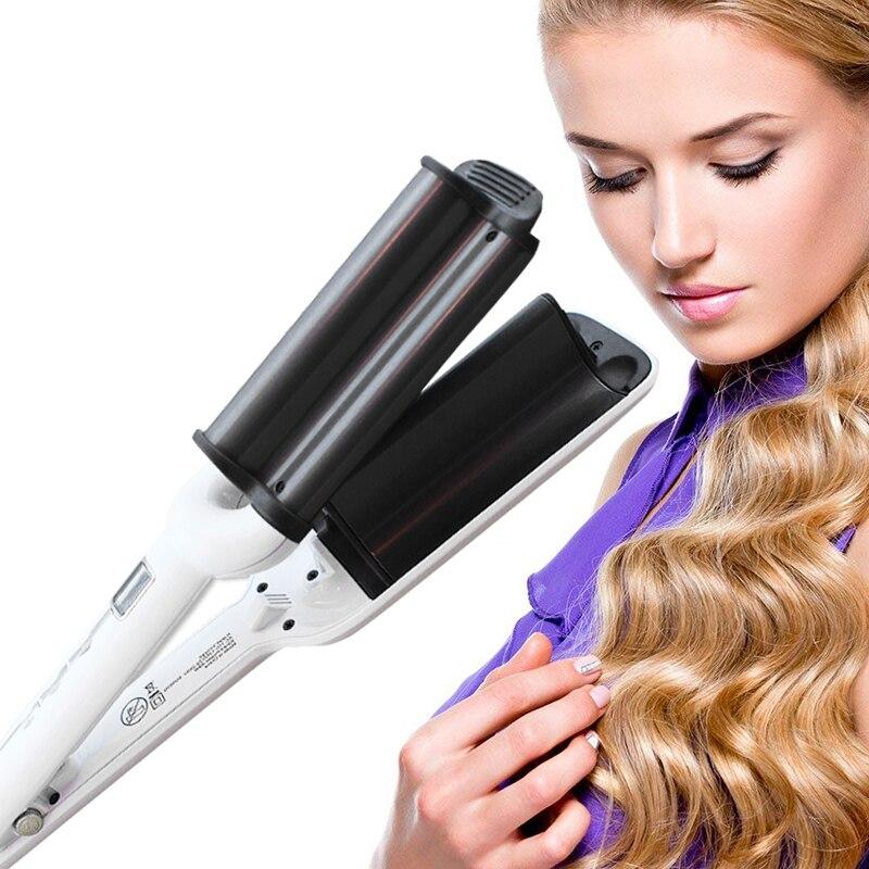 TOHUAN trois Tube fer à friser Styler LED affichage vague profonde cheveux sertisseur fer baguette bouclés cheveux artefact outil de coiffure