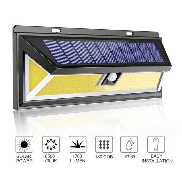 180LEDs PIR hareket sensörlü ışık açık LED projektörler güneş enerjili işık duvar lambası ev bahçe güvenlik sundurma işıkları
