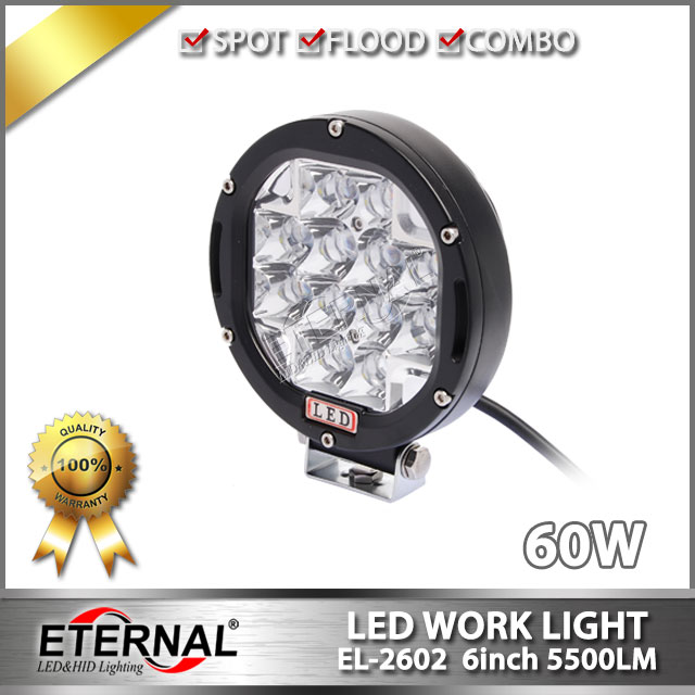 free shipping-60W driving light round headlight 6 4x4 offroad powersports buggy outdoor racing vehicles ATV UTV truck trailer