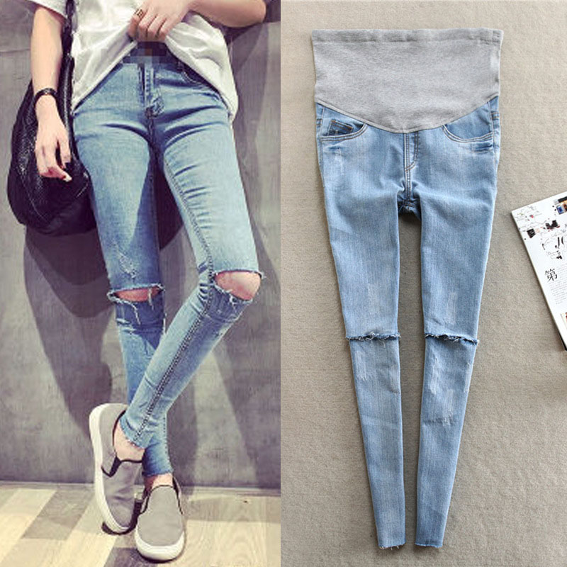 2018 New Spring Autumn Pregnant Women Jeans Holes Denim Maternity Pants Nursing Prop Belly Trouser