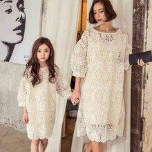 2016 Korean version of the new two paternity lace princess dress lantern sleeve mother of women long section