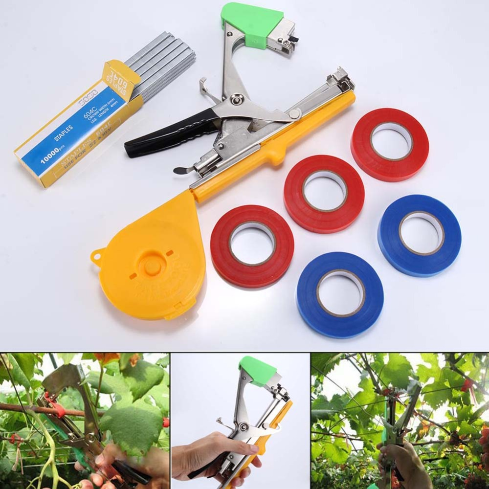 Newest 1 Set Hand Kits Tapetool +Box Nail Special Purp + 5 RollsDuct Tape Plant Branch Machine Flower Vegetable Garden Tools