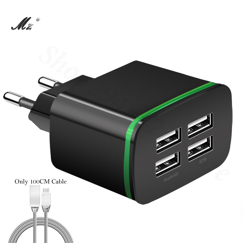 Universal 4-Ports Travel Wall USB Charger For iPhone 6 5 Samung Mobile Phone Charger Adapter LED Light EU Plug 5V 4A
