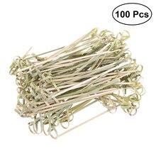 100 шт одноразовые бамбуковые шашлыки коктейльные палочки с витыми концами для коктейлей вечерние бутерброды для барбекю Клубные закуски