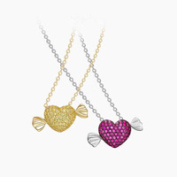 Brand New Arrvial Cute 925 sterling silver Crystal Love heart pendant necklace pink zircons angel wing girls monaco jewelry