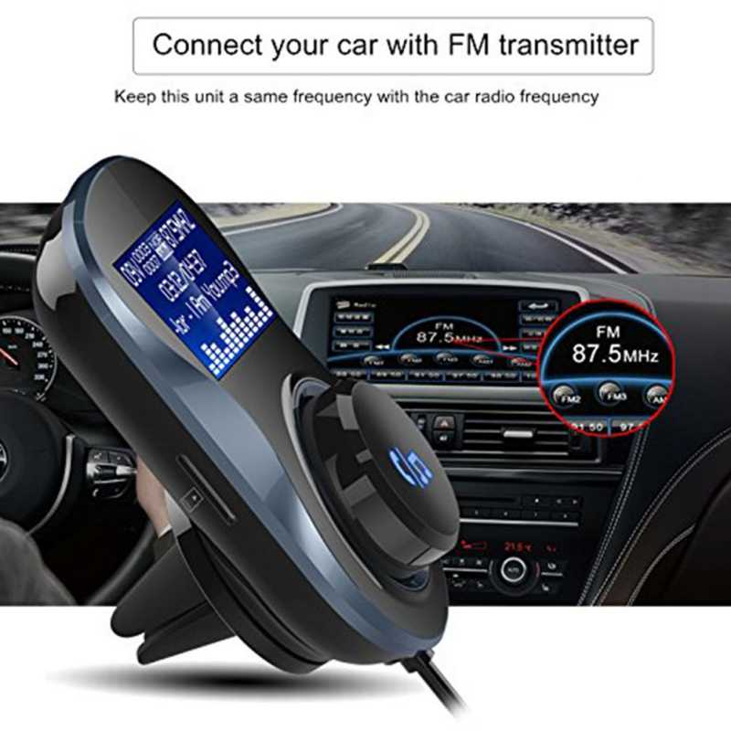 Car Bluetooth FM Transmitter Audio Car Mp3 Player Wireless FM Modulator Handsfree Bluetooth Car Kit with LCD Display OX