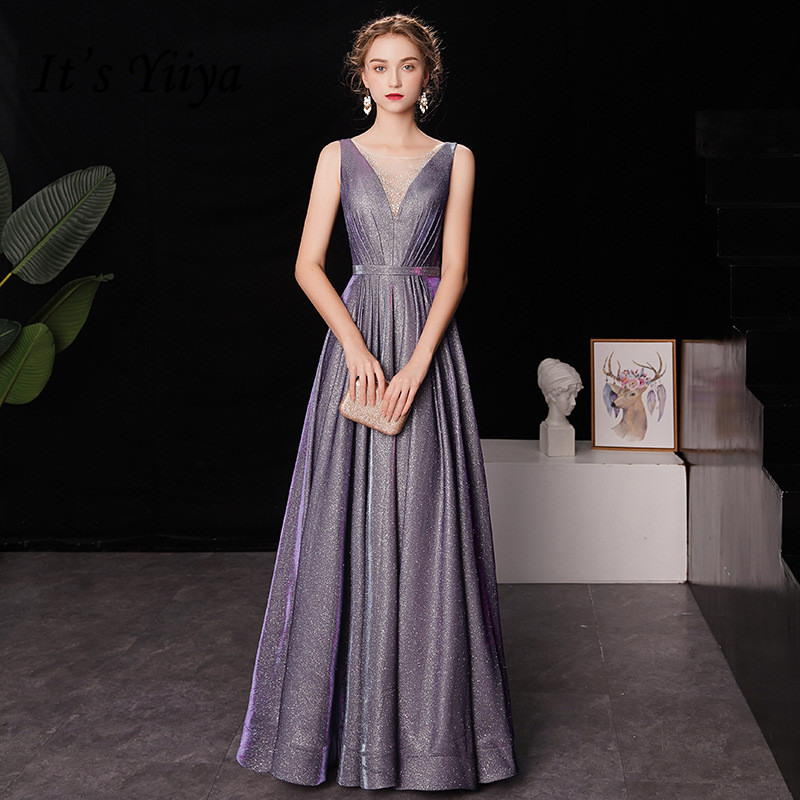 It's YiiYa   Evening     Dress   Gradient Color Star Purple V-neck Tank Formal   Dresses   Shining Sleeveless Lace Up Long Party Gown E034