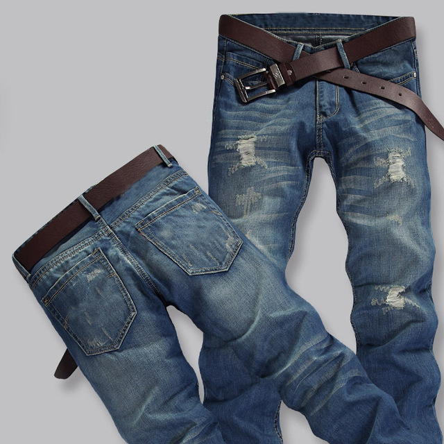 TOP SALE Men Hole Jeans 2015 Fashion Straight Brand Designer Denim ...