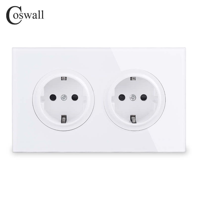 Coswall Crystal Tempered Pure Glass Panel 16A Double EU Standard Wall Power Socket Grounded With Child Protective Lock 146 Type