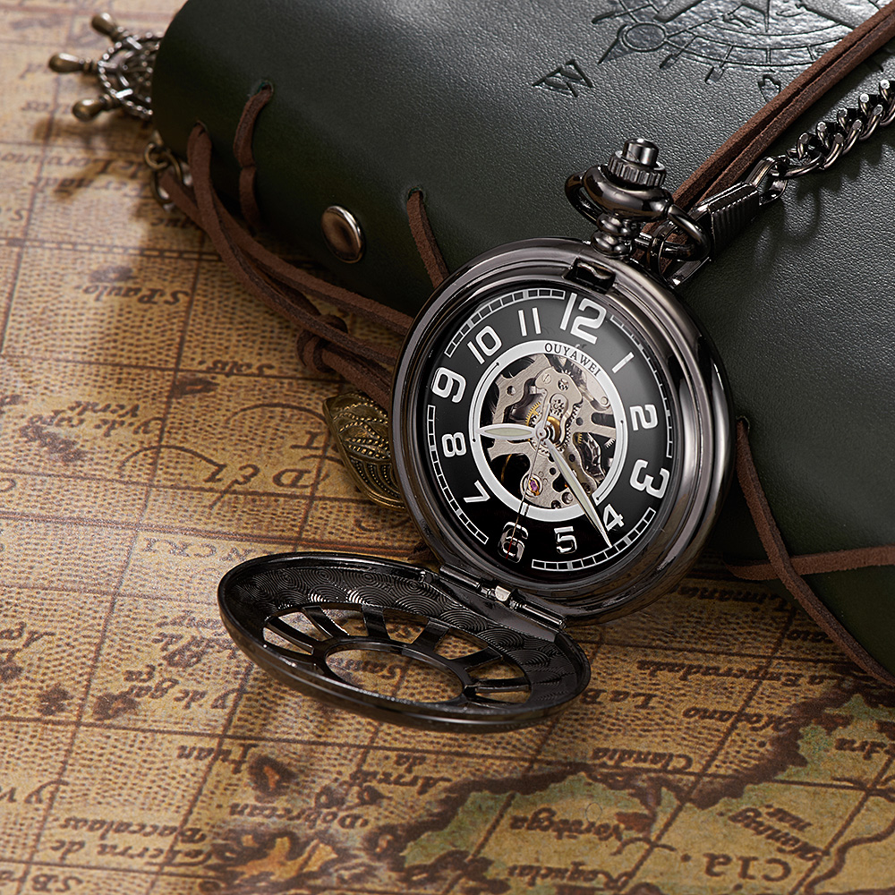 Luxury Brand OYW Full Steel Case Pocket Watch Men Mechanical Hand Wind Pocket Fob Watch Hombre Pendant Watch Relogio Masculino