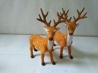 2 Pcs Simulation Deers Model Polyethylene Faux Furs 16x21cm Sika Deer Handicraft Figurines Prop Home Decoration