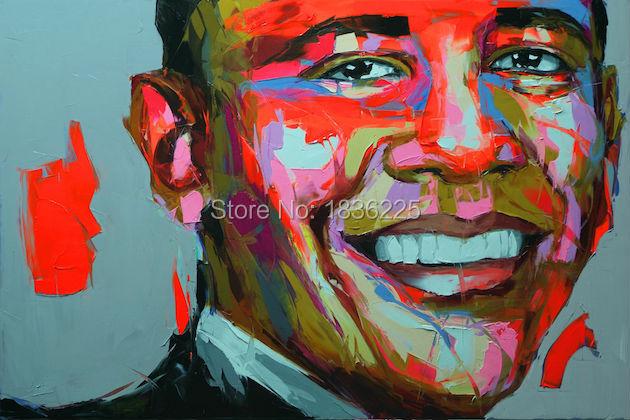 Картина Палитра для портрета, нож для лица, картина маслом, импасто, президент США, рисунок на холсте, ручная роспись, francoise nielly