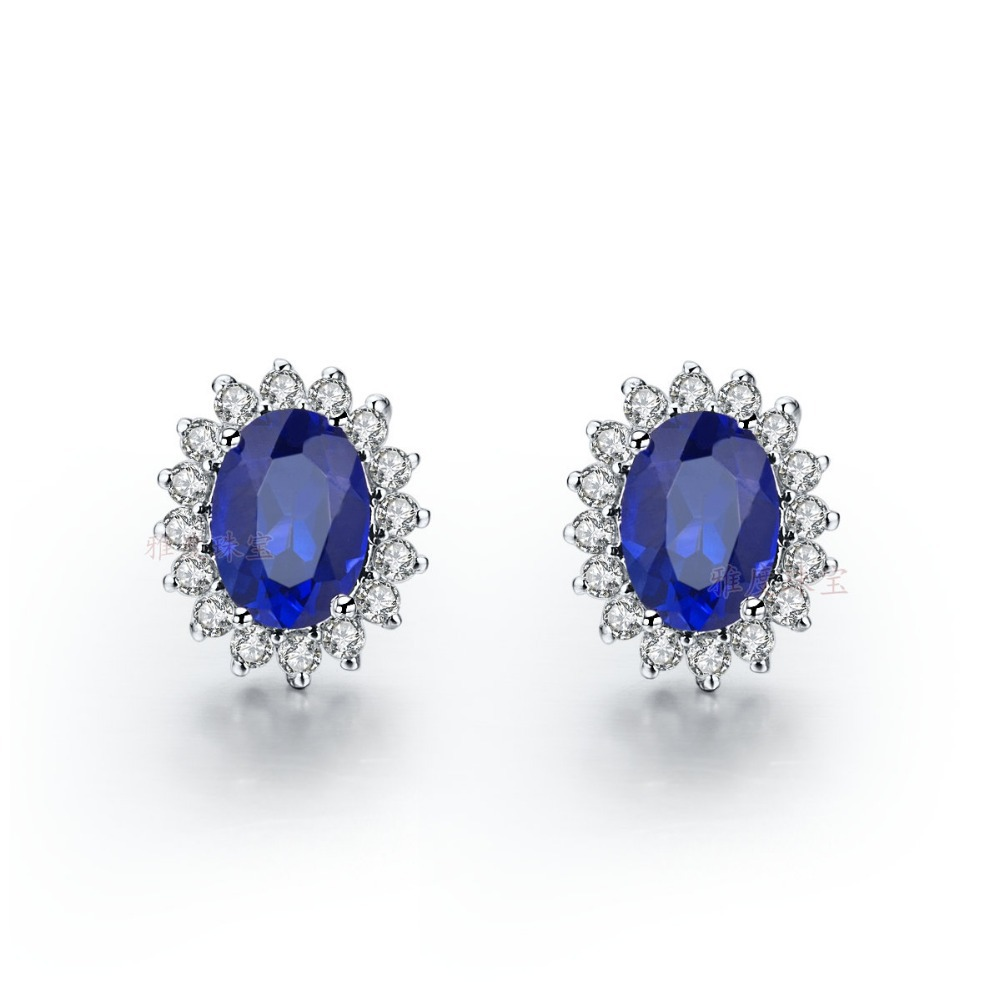 Piece Solid White Gold Earrings Synthetic  Diamonds Blue Women Earrings