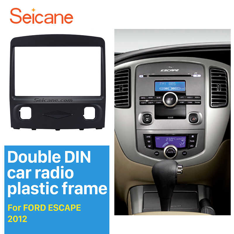 Seicane Black Double Din in dash Panel refitting Car Radio Fascia Trim kit  for Ford Escape Stereo Interface Plate Frame