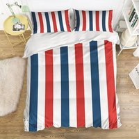 Soft Duvet Cover French Flag Stripe Print Bedding Set Washed Microfiber Comfy Pillow Shams 4 Pieces Sets
