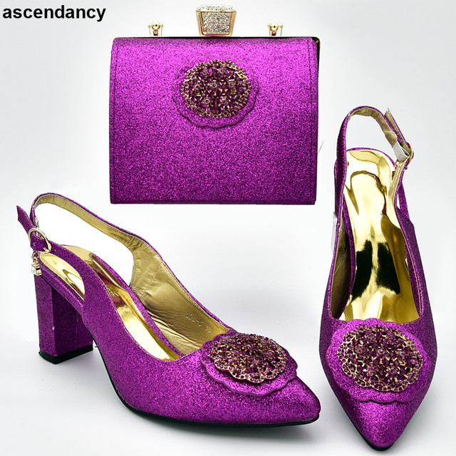 New Arrival Purple Color African Matching Shoes and Bags Italian In Women Party Shoes and Bag Sets African Shoes and Bag Sets