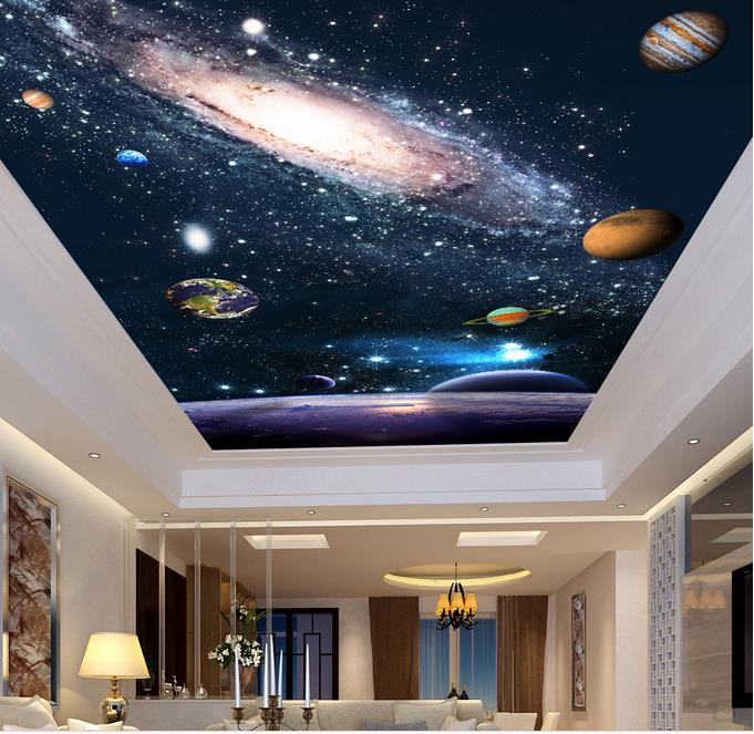 3d Wallpaper Mural Night Clouds Star Sky Wall Paper: Custom 3d Sky Ceiling Wallpaper Space Planet Wall Mural 3d