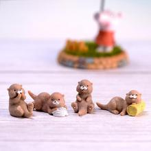 New 4pcs/Set Artificial Brown Otter Figurine Animal Model Home Miniature Fairy Garden Decoration DIY Accessories