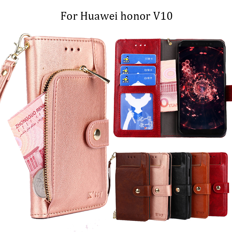 Huawei honor v10 case cover view 10 flip cover back leather silicone protect shockproof coque K'try original honor v10 case