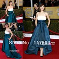Free Shipping 2013 New Red Carpet Strapless Front Short Long Back Taffeta Celebrity Dress Two Tone CD011