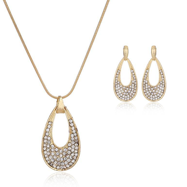 New Fashion Jewelry Set Gold Plated Drop Design Crystal Pendant ...