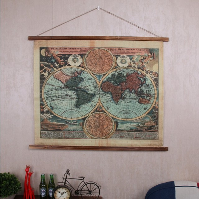 Americal industrial style retro linen cloth tapestry 10686cm americal industrial style retro linen cloth tapestry 10686cm antique treatment world map pattern gumiabroncs Choice Image