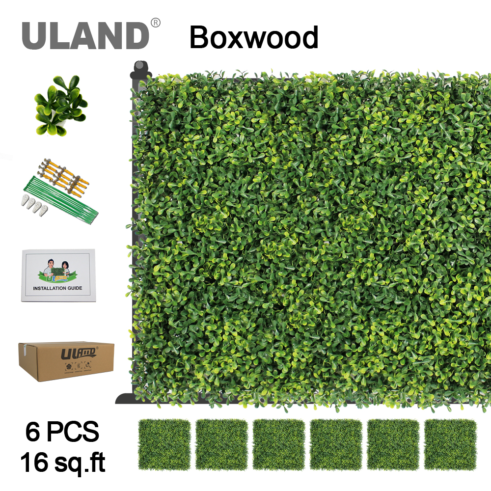 ULAND Artificial Boxwood Hedge Panels 16 sqft Indoor and Outdoor Hanging Greenery Mats Decorative Accessories 50x50cm/pc 6 PackULAND Artificial Boxwood Hedge Panels 16 sqft Indoor and Outdoor Hanging Greenery Mats Decorative Accessories 50x50cm/pc 6 Pack