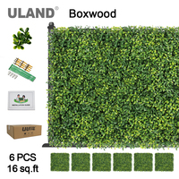 ULAND Artificial Boxwood Hedge Panels 16 sqft Indoor and Outdoor Hanging Greenery Mats Decorative Accessories 50x50cm/pc 6 Pack