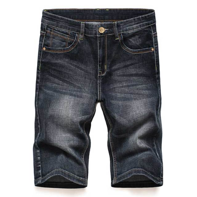 Hombres Cordón Jeans Shorts Pantalones Cortos Cintura Elástica Rodilla Length SPfyJRh