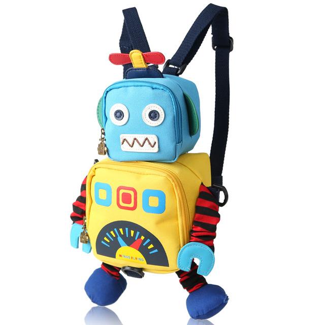 Saco bonito do robô de brinquedo do miúdo mochila para crianças anti-perdidos crianças impressão do saco de escola do jardim de infância de Animação dos desenhos animados lovely baby saco