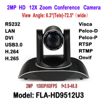 2MP H.265 H.264 Dual Stream Black Color DVI USB3.0 IP HD Video Conference Camera 12X Zoom 340 Degree Rotation For Remote meeting