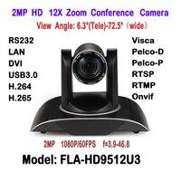 2mp H.265 H.264 двойной поток черный Цвет DVI USB3.0 IP HD видео Конференц Камера 12x зум 340 градусов вращения для дистанционного совещания