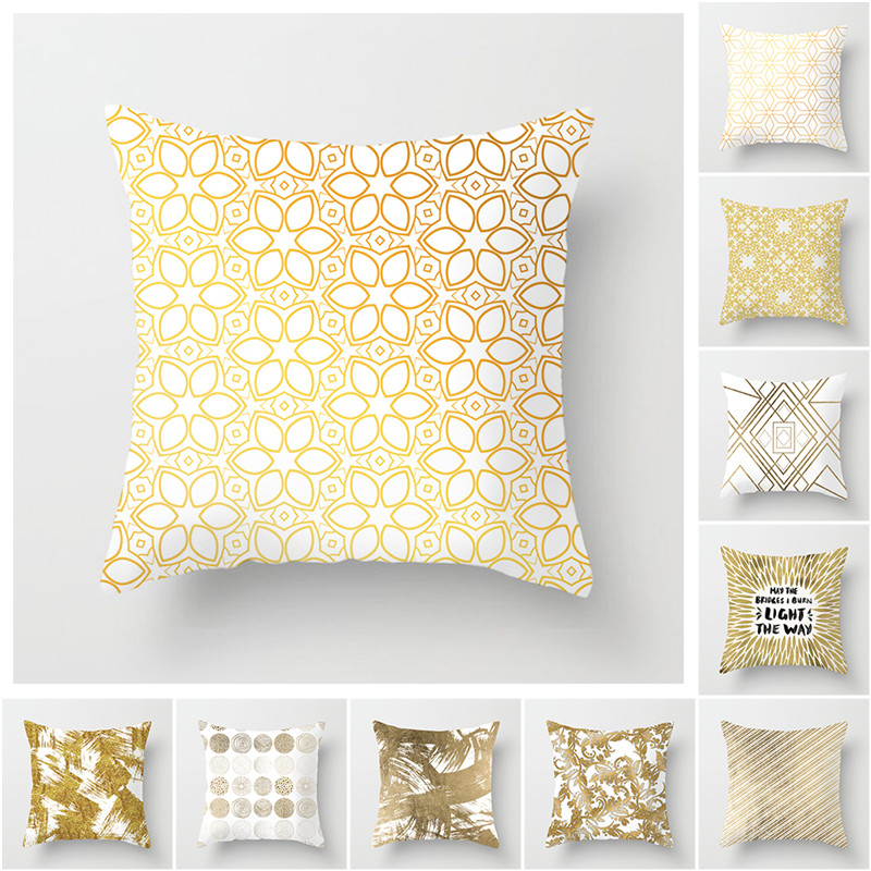 Fuwatacchi Gold Geometric Cushion Covers Leaf Dot Wave Pillow Cases for Home Sofa Chair Car Decoration Flowers Pillowcases 2019 in Cushion Cover from Home Garden