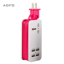 USB power board, portable travel charger socket 1.5M / 5ft cord, universal plug wide range input 100v-240v
