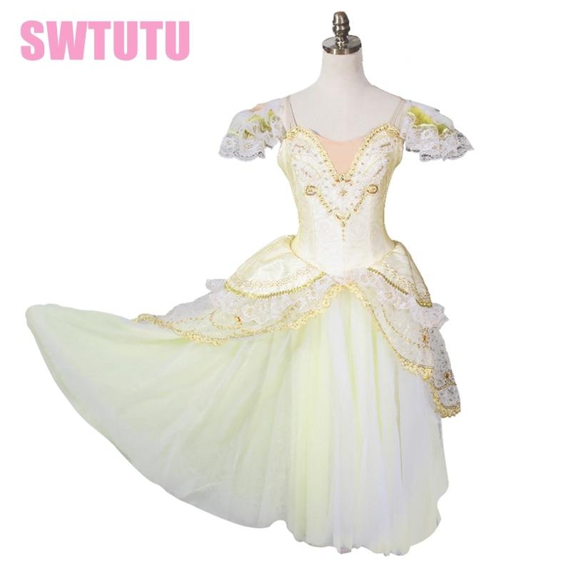 Adult White gold Giselle Ballet Dress,Gold Romantic Ballet Tutu,ballet dress for children,white tutu ballet dress BT8902
