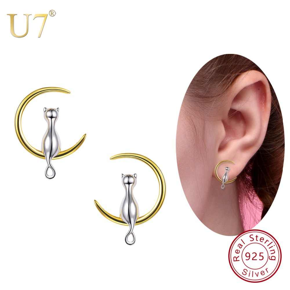 U7 925 Sterling Silver Stud Earrings Cat Sitting on Moon Women Jewelry Brincos Mother's Day Gift Sterling Silver Earings SC03