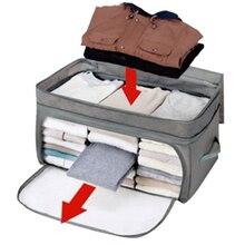 29L/69L Folding Moisture-proof Storage Box Wardrobe Clothes Organizer Home Storage & Organization Storage Bags- Grey 05 2 004 folding double open visual storage box for clothes grey