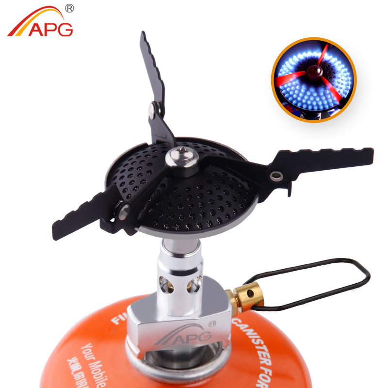 APG Portable Folding Mini Camping Stove Utendørs kokekar 70g 2300W Pocket Picnic Cooking Gas Burners